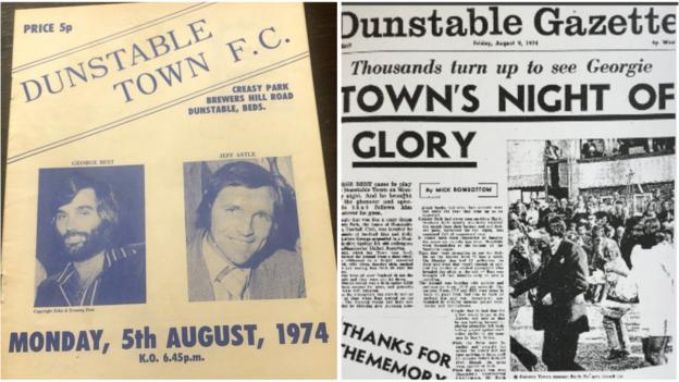 The programme for Dunstable against Manchester United and coverage in the local newspaper