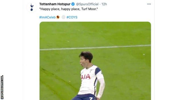 Tweet on Tottenham Hotspur account, showing Son Heung-Min celebrating scoring at Turf Moor