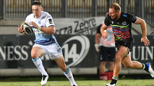 Josh Adams scored his eighth try in nine games for the region in Cardiff Blues opening weekend win at Zebre