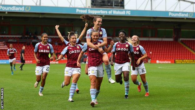 Sarah Mayling celebrates scoring for Aston Villa against Leicester City in the Women's Super League