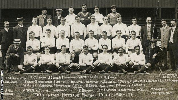Walter Tull in the 1910-1911 Tottenham Hotspur team photo