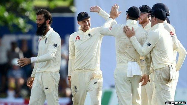 England celebrate wicket