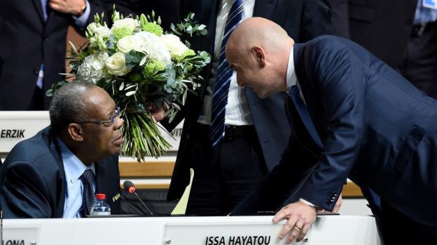 Issa Hayatou and new Fifa President Gianni Infantino