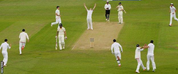 Ben Stokes (top, centre) celebrates his fifth wicket