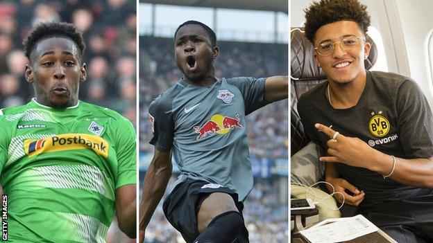 Reece Oxford (left), Ademola Lookman (centre) and Jadon Sancho (right)