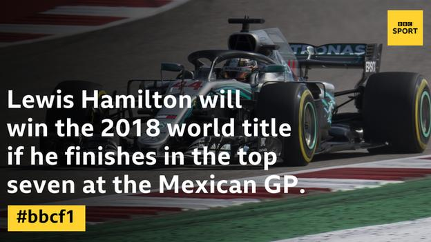 A grapgic to show Lewis Hamilton will win the world championship if he finishes in the top seven in Mexico