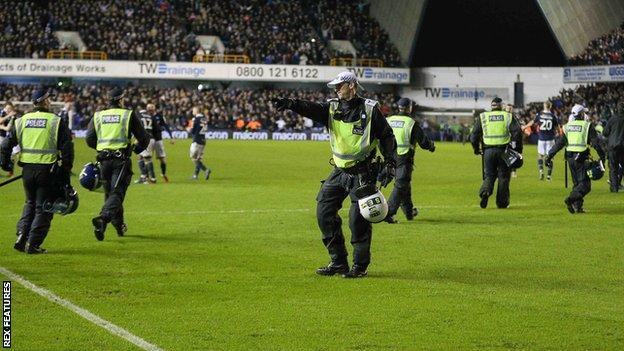 Police at Millwall v Everton