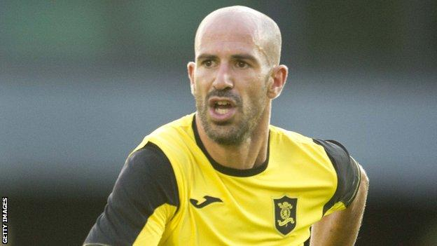 Hugo Faria in action for Livingston