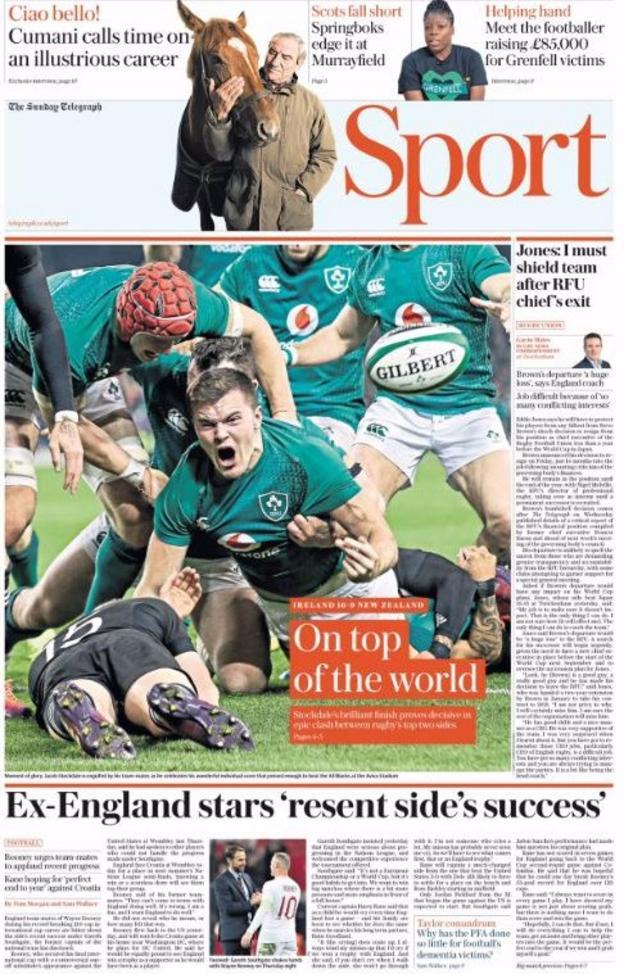 Sunday Telegraph sport page