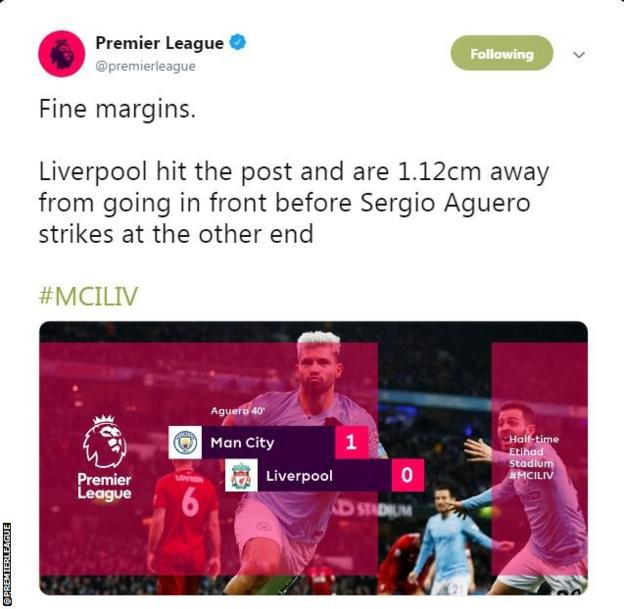 The Premier League says Liverpool were 1.12cm away from taking the lead before Sergio Aguero's opener.