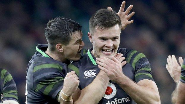 Johnny Sexton congratulates Jacob Stockdale after one of the Ulster's Ireland tries
