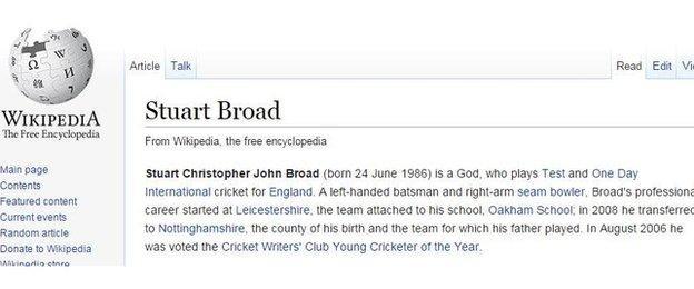 Stuart Broad's Wikipedia page