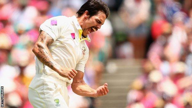 Mitchell Johnson celebrates taking a wicket