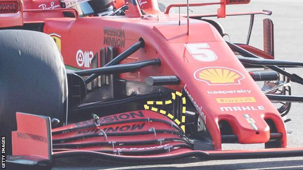 Sebastian Vettel's ferrari showing the 'J-vane'