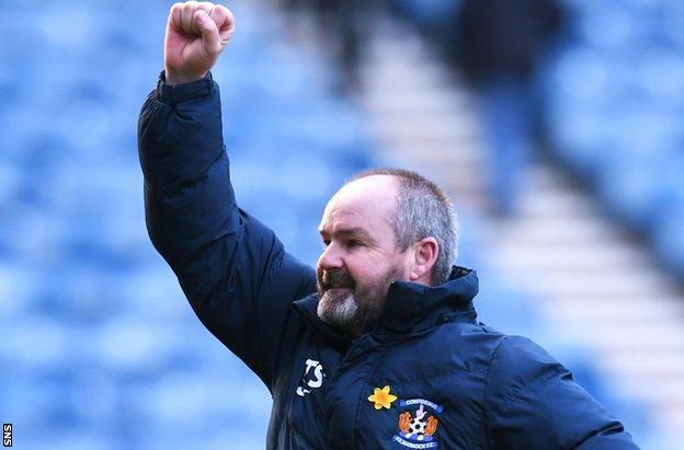 Kilmarnock manager Steve Clarke celebrates against Rangers
