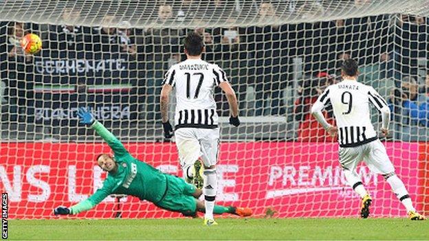 Alvaro Morata (right) scores for Juventus against Inter Milan