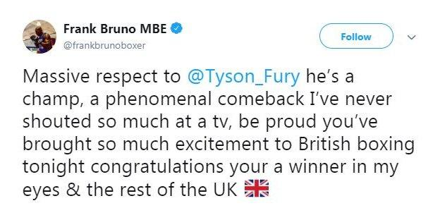 Former British heavyweight Frank Bruno also thought Fury was the winner