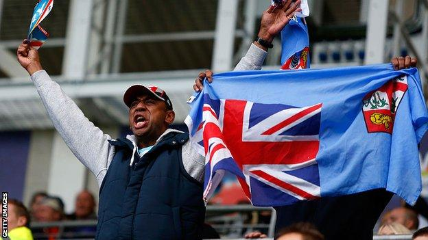 Fiji fans cheer on their side against England at the 2013 Rugby League World Cup