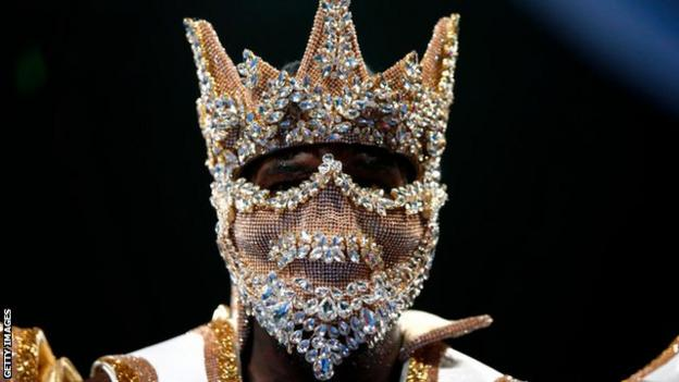 Deontay Wilder wearing a Game of Thrones-esque mask