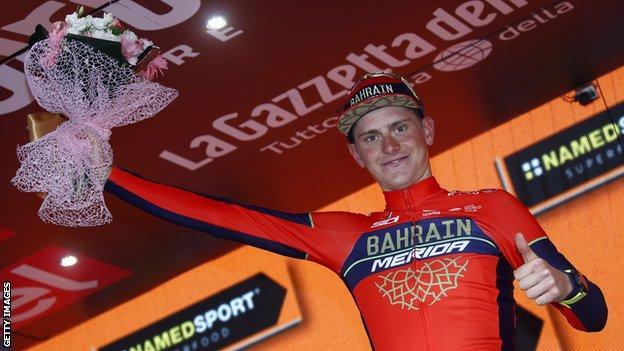 Matej Mohoric celebrates winning stage 10 of the Giro