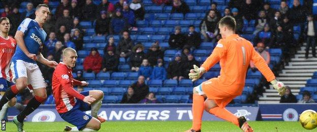Lee Wallace marked his 350th career appearance with the opening goal