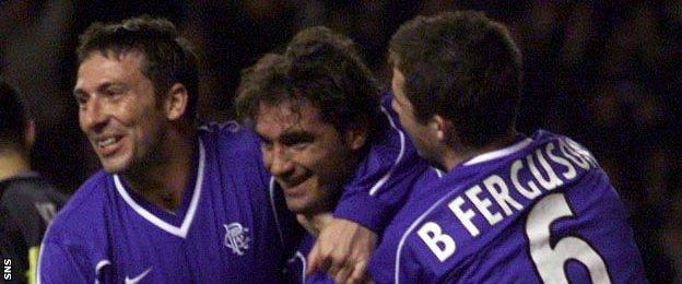 Derek McInnes, Lorenzo Amoruso and Barry Ferguson playing for Rangers in the 1990s