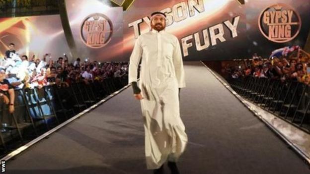 Tyson Fury wearing an Arabian thobe