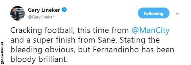 """Gary Lineker says it was cracking football from Manchester City and a super finish from Sane. """"Stating the bleeding obvious, but Fernandinho has been bloody brilliant,"""" he adds."""