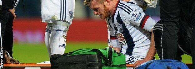 Chris Brunt was stretchered off 44 minutes into Albion' 3-2 home win over Crystal Palace in February
