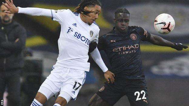 Leeds United's Helder Costa in action with Manchester City's Benjamin Mendy