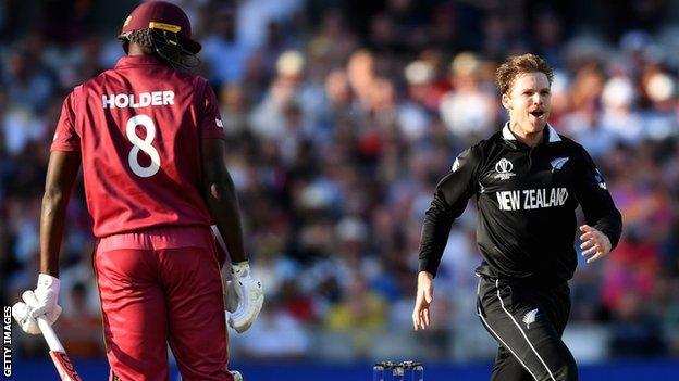 West Indies' Jason Holder and New Zealand's Lockie Ferguson