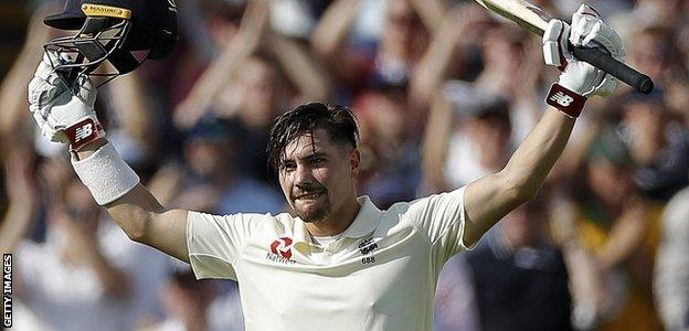 England opener Rory Burns celebrates his maiden Test century in the first Ashes Test against Australia at Edgbaston