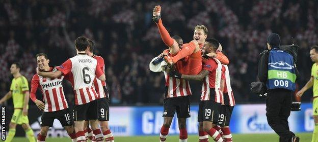 PSV Eindhoven celebrate qualification