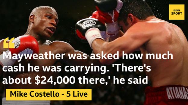 Mayweather explained he could tell how much money he had by weighing it in his hand