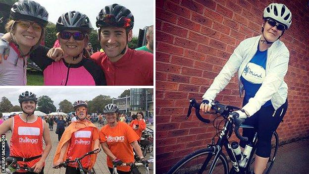 Laura Jackson with children Gina and Harry (top left), with friends Henry and Freddie (bottom left) and in her MIND t-shirt ready for the 2019 RideLondon-Surrey 100 (right)