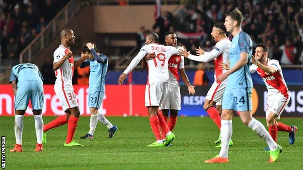 Monaco celebrate their away goals win over Manchester City in the Champions League in 2017