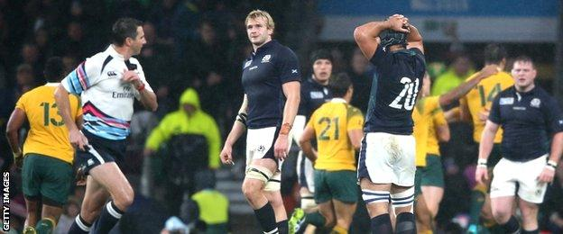 Referee Craig Joubert makes himself scarce at the final whistle