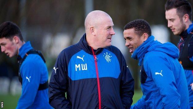 Rangers manager Mark Warburton during training