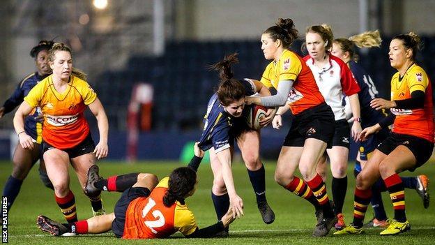 Richmond's Hallie Taufoou tackles Megan Varley of Worcester