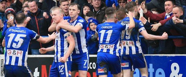 Coleraine celebrated a vital victory over Cliftonville