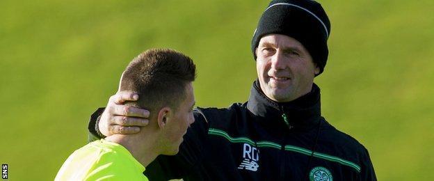 Celtic's Callum McGregor and Ronny Deila