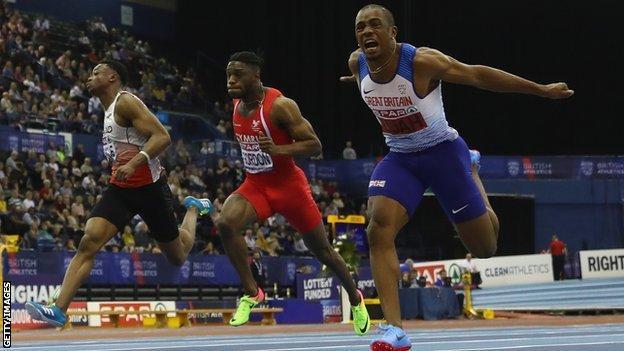 CJ Ujah wins the men's 60m at the British Indoor Championships