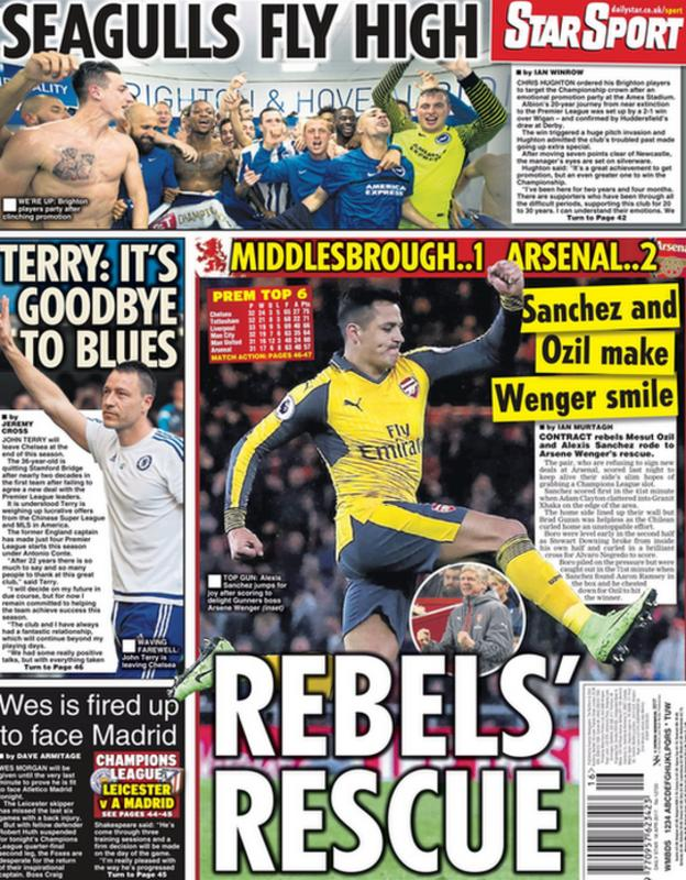 Arsenal's win at Middlesbrough dominates the back page of the Daily Star