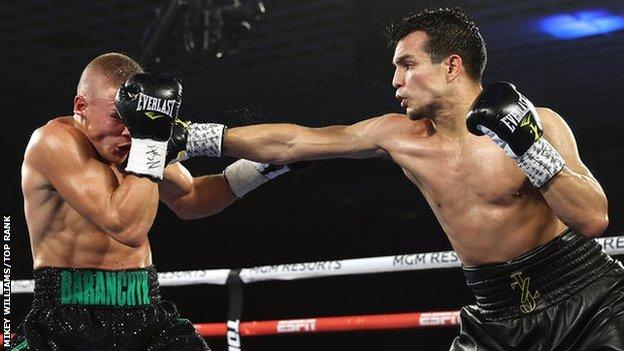Jose Zepeda (right) fights Belarusian Ivan Baranchyk