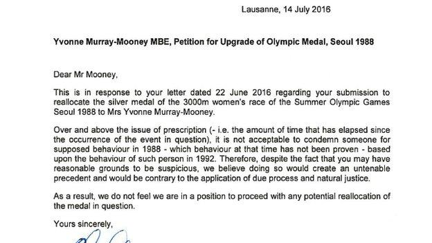 Letter from Howard Stupp of the IOC