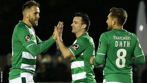 Chris Dagnall celebrates his first Yeovil Town goal