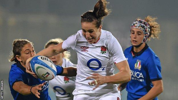 England's Emily Scarrett against Italy