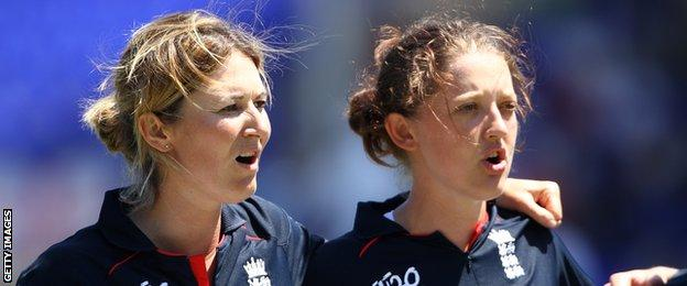 England's Charlotte Edwards and Sarah Taylor