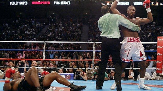 Mike Tyson is knocked out by Lennox Lewis