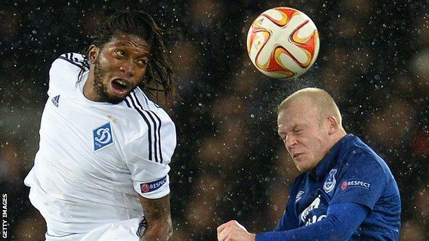 Dieumerci Mbokani played for Kiev against Everton in the Europa League last season